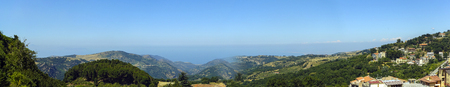 degrade: Panorama from the Nebrodi mountains down to the sea Stock Photo