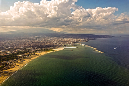 aerial view of the port of Catania Stock Photo