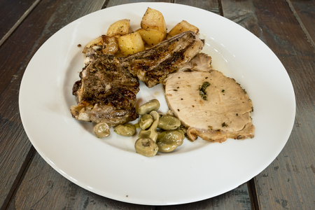 roasted mixed with beans and potato side dish