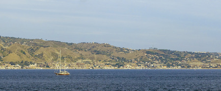 strait: Tall Ship on the Strait of Messina Stock Photo