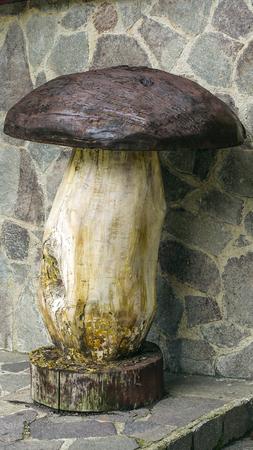 sculpt: Liignea sculpture of a porcini mushroom on a human scale Stock Photo
