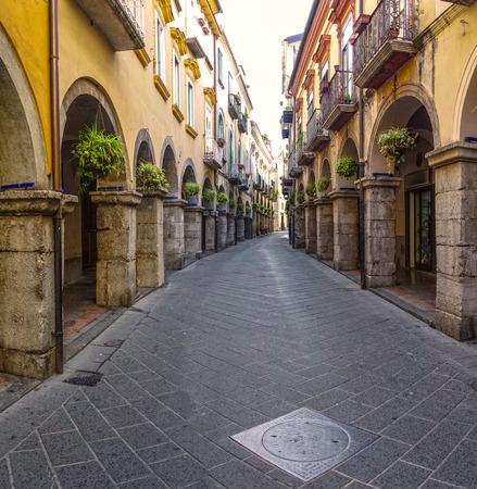 privileged: The arcades Scacciaventi town of Cava de Tirreni Stock Photo