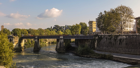 Postcard from Rome: Tiber River, Tiber Island tract Editorial