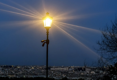gash: the streetlight illuminates the city of Rome