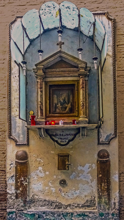 dedicated: Altar dedicated to Our Lady of Pompeii turning to the streets of Naples Stock Photo