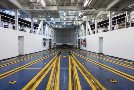 Platform tracks inside the ferry Stock Photo