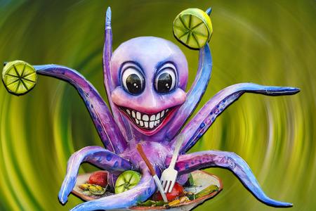 papiermache: murals: octopus salad in the color vortex