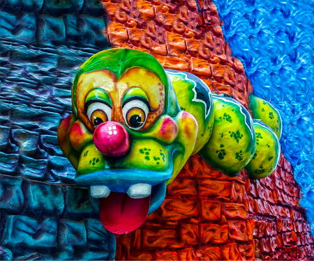 papiermache: murals: three-color the earthworm in the background Editorial