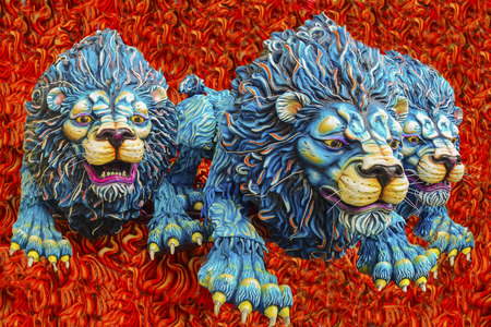 papiermache: murals: three lions on the run from the flames of hell