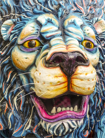papiermache: murals: King of the forest - detail of head