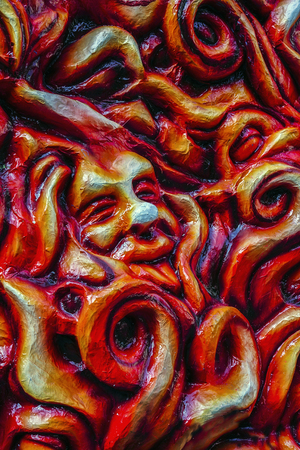 papiermache: murals: hell, red background, between flames and fire