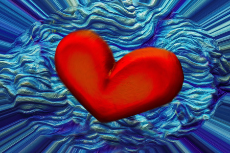 red heart on a light blue background