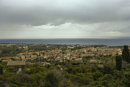 Panoramic photo of Aci of the valley - detail of Aci San Filippo Stock Photo