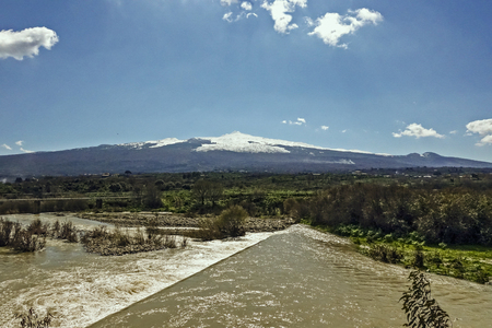 tributary: river and volcano Stock Photo