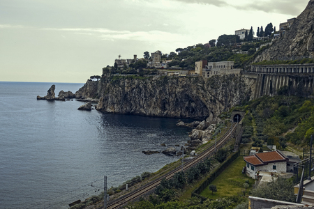 glimpse of the Ionian coast Stock Photo