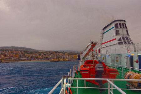 Dark sky on the Straits of Messina 24 Stock Photo