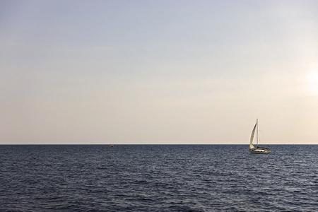 imperturbable: sailboat in the open sea Stock Photo