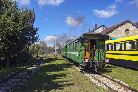 vintage train awaiting departure to train station 475 Editorial