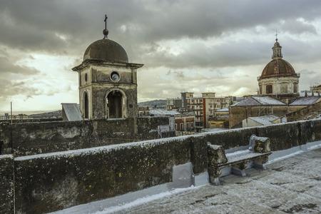 postcard of Acireale with snow 125 Reklamní fotografie