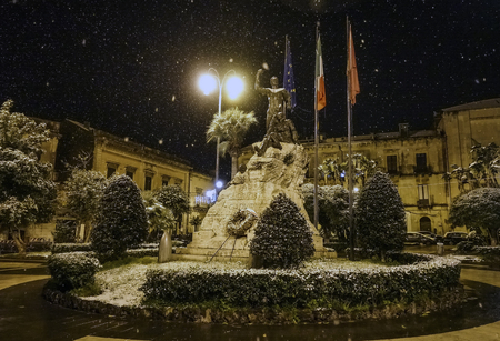 Postcard of Acireale with snow: the monument to the fallen of Piazza Garibaldi - 69