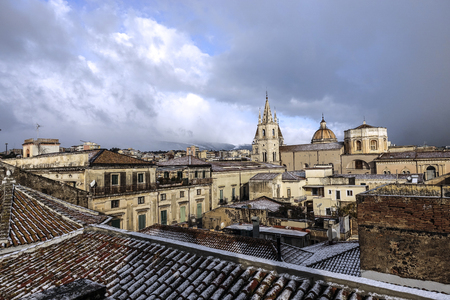 The snow on the roofs of Acireale - 94 Reklamní fotografie