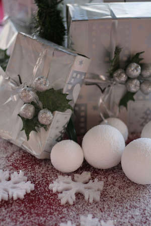 A Christmas detail with gifts and snow Stock Photo - 11722041