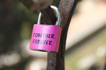 love confession: A love lock in the City of Verona Stock Photo