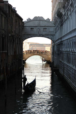 Backview of the Bridge of Sighs in Venice