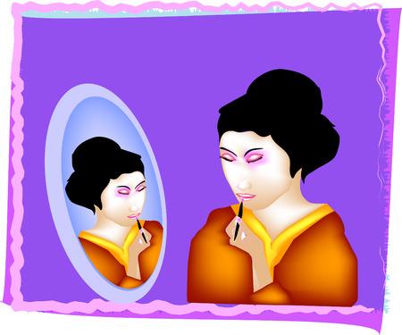 鏡で見ている芸者  イラスト・ベクター素材