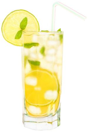 Lemonade with ice cubes on white background.