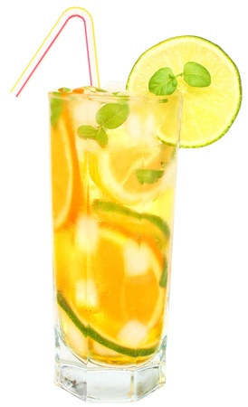 Iced drink with mint and citrus fruit.