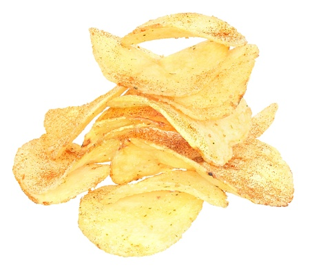 Potato chips on a white background. Reklamní fotografie - 9101242