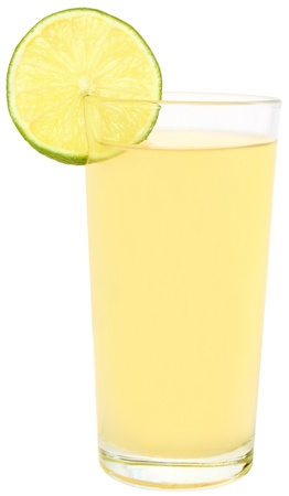 Glass of a lime juice on a white background. photo