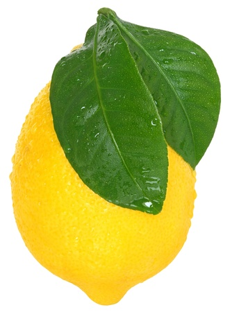 with lemon: The lemon on a white background. Stock Photo