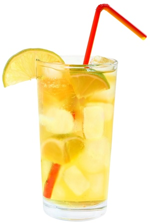 Cocktail with ice cubes on white background. photo