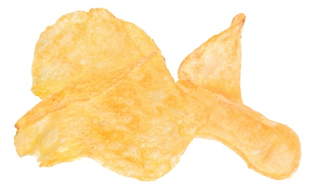 Potato chips on a white background. photo