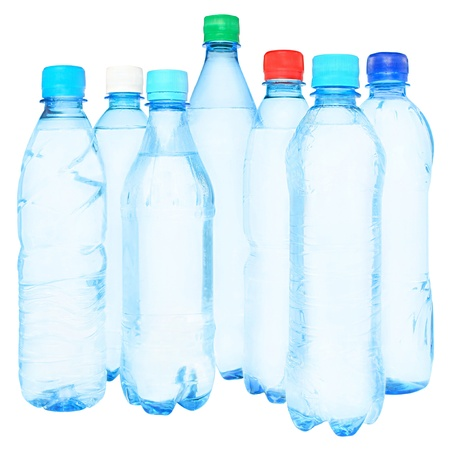 Bottles with water on a white background.