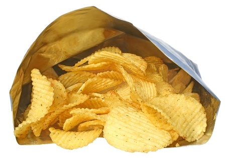 chips: Potato chips on a white background.