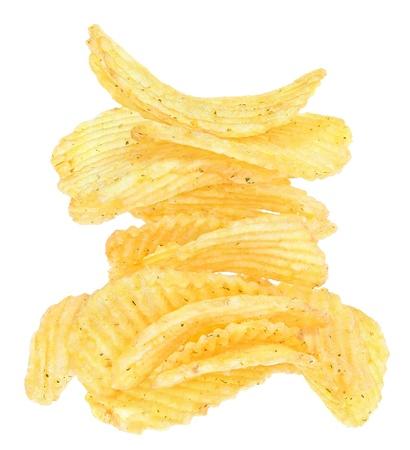Potato chips on a white background. Stock Photo - 10036939