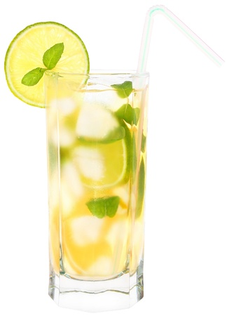 cool mint: Lemonade with ice cubes on white background.