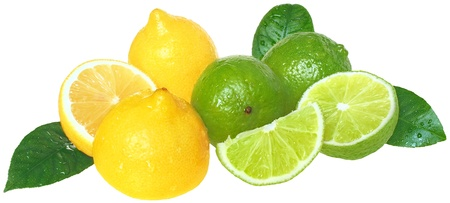 lemon lime: Fresh limes and lemons on a white background.