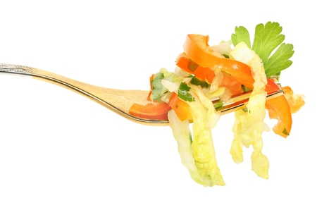 Fork with salad from vegetables Stock Photo