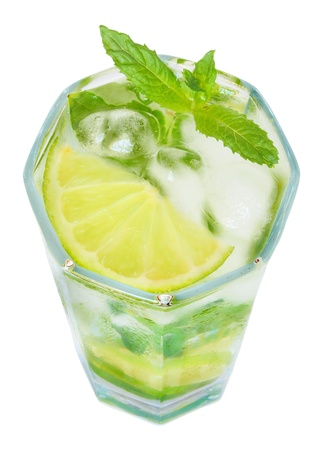 A glass of ice water.