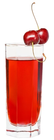 Cherry juice on a white background.