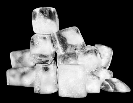 Cubes of ice on a black background.