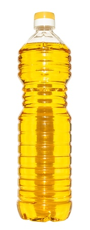Bottle of vegetable oil on a white background. Stock Photo