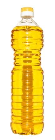 Bottle of vegetable oil on a white background. Stock Photo