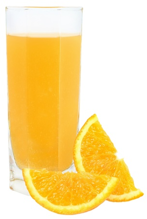 Orange juice on a white background.