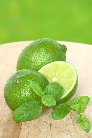Lime and mint close-up. photo