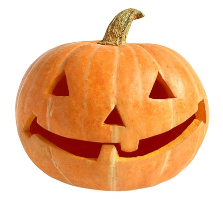 Head cut out from a pumpkin. Stock Photo